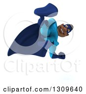 Clipart Of A 3d Buff Black Super Hero Man In A Blue Costume Kicking Royalty Free Illustration