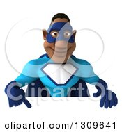 Clipart Of A 3d Buff Black Super Hero Man In A Blue Costume Pointing Down To A Sign Royalty Free Illustration