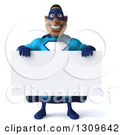 Clipart Of A 3d Buff Black Super Hero Man In A Blue Costume Holding A Blank Sign Royalty Free Illustration