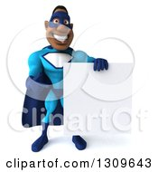 Clipart Of A 3d Buff Black Super Hero Man In A Blue Costume Holding And Pointing To A Blank Sign Royalty Free Illustration