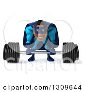 Clipart Of A 3d Buff Black Super Hero Man In A Blue Costume Bending Over And Lifting A Barbell Royalty Free Illustration