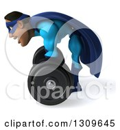 Clipart Of A 3d Buff Black Super Hero Man In A Blue Costume Facing Right Bending Over And Lifting A Barbell Royalty Free Illustration