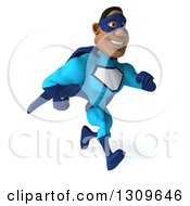 Clipart Of A 3d Buff Black Super Hero Man In A Blue Costume Running To The Right Royalty Free Illustration