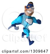 Clipart Of A 3d Buff Black Super Hero Man In A Blue Costume Running To The Right And Smiling Royalty Free Illustration