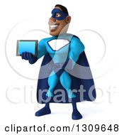 Clipart Of A 3d Buff Black Super Hero Man In A Blue Costume Holding And Presenting A Tablet Computer Royalty Free Illustration