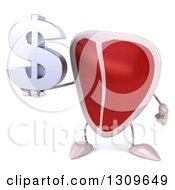 Clipart Of A 3d Beef Steak Character Holding A Dollar Symbol Royalty Free Illustration by Julos