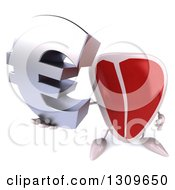 Clipart Of A 3d Beef Steak Character Holding Up A Euro Symbol Royalty Free Illustration