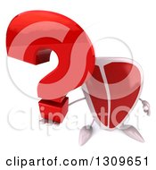 Clipart Of A 3d Beef Steak Character Holding Up A Question Mark Royalty Free Illustration