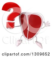 Clipart Of A 3d Beef Steak Character Jumping And Holding A Question Mark Royalty Free Illustration