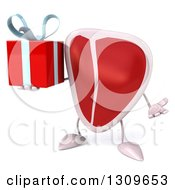 Clipart Of A 3d Beef Steak Character Shrugging And Holding A Gift Royalty Free Illustration
