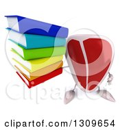 Clipart Of A 3d Beef Steak Character Holding Up A Stack Of Books Royalty Free Illustration