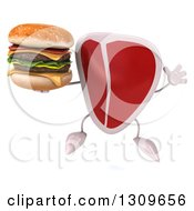 Clipart Of A 3d Beef Steak Character Jumping And Holding A Double Cheeseburger Royalty Free Illustration