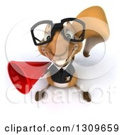 Clipart Of A 3d Bespectacled Business Squirrel Looking Up And Holding A Megaphone Royalty Free Illustration