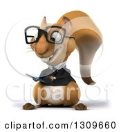 Clipart Of A 3d Bespectacled Business Squirrel Using A Tablet Computer Or Smart Phone Royalty Free Illustration