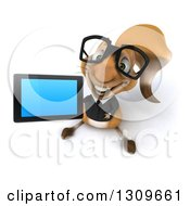Clipart Of A 3d Bespectacled Business Squirrel Holding Up A Tablet Computer Or Smart Phone Royalty Free Illustration