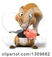 Clipart Of A 3d Business Squirrel Holding A Piggy Bank And Presenting To The Left Royalty Free Illustration