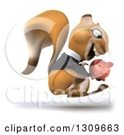 Clipart Of A 3d Business Squirrel Holding A Piggy Bank And Hopping To The Right Royalty Free Illustration