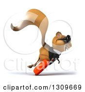 Clipart Of A 3d Traveling Business Squirrel Wearing Sunglasses And Hopping To The Right With Rolling Luggage Royalty Free Illustration
