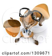Clipart Of A 3d Bespectacled Doctor Or Veterinarian Squirrel Holding Up An Acorn Royalty Free Illustration