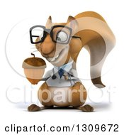 Clipart Of A 3d Bespectacled Doctor Or Veterinarian Squirrel Holding And Pointing To An Acorn Royalty Free Illustration by Julos