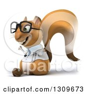 Clipart Of A 3d Bespectacled Doctor Or Veterinarian Squirrel Facing Slightly Left And Meditating Royalty Free Illustration