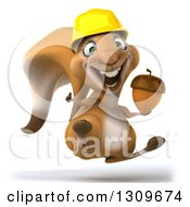Clipart Of A 3d Excited Contractor Squirrel Wearing A Hardhat Jumping Giving A Thumb Up And Holding An Acorn Royalty Free Illustration by Julos