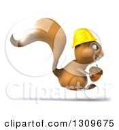 Clipart Of A 3d Contractor Squirrel Wearing A Hardhat And Hopping To The Right With An Acorn Royalty Free Illustration by Julos