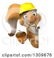 Clipart Of A 3d Contractor Squirrel Wearing A Hardhat And Holding An Acorn Around A Sign Royalty Free Illustration by Julos