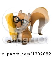 Clipart Of A 3d Bespectacled Squirrel Writing With A Giant Pencil Royalty Free Illustration