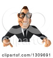 Clipart Of A 3d Bespectacled Macho White Businessman Pointing Down Over A Sign Royalty Free Illustration