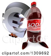 Clipart Of A 3d Soda Bottle Character Holding Up A Euro Symbol Royalty Free Illustration