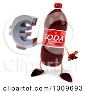 Clipart Of A 3d Soda Bottle Character Shrugging And Holding A Euro Symbol Royalty Free Illustration