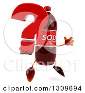Clipart Of A 3d Soda Bottle Character Facing Slightly Right Jumping And Holding A Question Mark Royalty Free Illustration