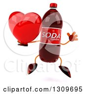 Clipart Of A 3d Soda Bottle Character Jumping And Holding A Red Love Heart Royalty Free Illustration