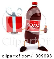 Clipart Of A 3d Soda Bottle Character Holding A Gift And Thumb Up Royalty Free Illustration