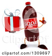 Clipart Of A 3d Soda Bottle Character Holding Up A Finger And A Gift Royalty Free Illustration