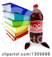 Clipart Of A 3d Soda Bottle Character Holding Up A Stack Of Books Royalty Free Illustration