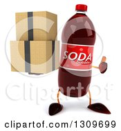 Clipart Of A 3d Soda Bottle Character Holding A Thumb Up And Boxes Royalty Free Illustration