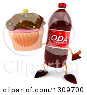 Clipart Of A 3d Soda Bottle Character Shrugging And Holding A Chocolate Frosted Cupcake Royalty Free Illustration