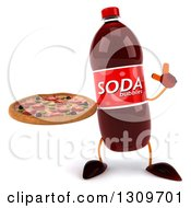 Clipart Of A 3d Soda Bottle Character Holding Up A Finger And A Pizza Royalty Free Illustration