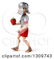 Clipart Of A 3d Young Male Roman Legionary Soldier Walking To The Left And Holding A Strawberry Royalty Free Illustration
