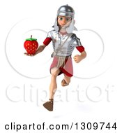 Clipart Of A 3d Young Male Roman Legionary Soldier Sprinting And Holding A Strawberry Royalty Free Illustration