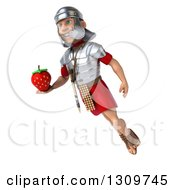 Clipart Of A 3d Young Male Roman Legionary Soldier Floating Facing Left And Holding A Strawberry Royalty Free Illustration