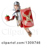 Clipart Of A 3d Young Male Roman Legionary Soldier Flying Holding A Shield And A Strawberry Royalty Free Illustration