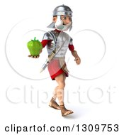 Clipart Of A 3d Young Male Roman Legionary Soldier Walking To The Right And Holding A Green Bell Pepper Royalty Free Illustration