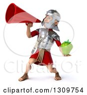 Clipart Of A 3d Young Male Roman Legionary Soldier Holding A Green Bell Pepper And Announcing To The Left With A Megaphone Royalty Free Illustration