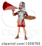 Clipart Of A 3d Young Male Roman Legionary Soldier Holding A Pizza And Announcing With A Megaphone Royalty Free Illustration