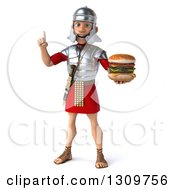 Clipart Of A 3d Young Male Roman Legionary Soldier Holding Up A Finger And A Double Cheeseburger Royalty Free Illustration
