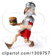 Clipart Of A 3d Young Male Roman Legionary Soldier Speed Walking To The Left And Holding A Double Cheeseburger Royalty Free Illustration
