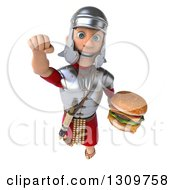 Clipart Of A 3d Young Male Roman Legionary Soldier Flying Forward And Holding A Double Cheeseburger Royalty Free Illustration